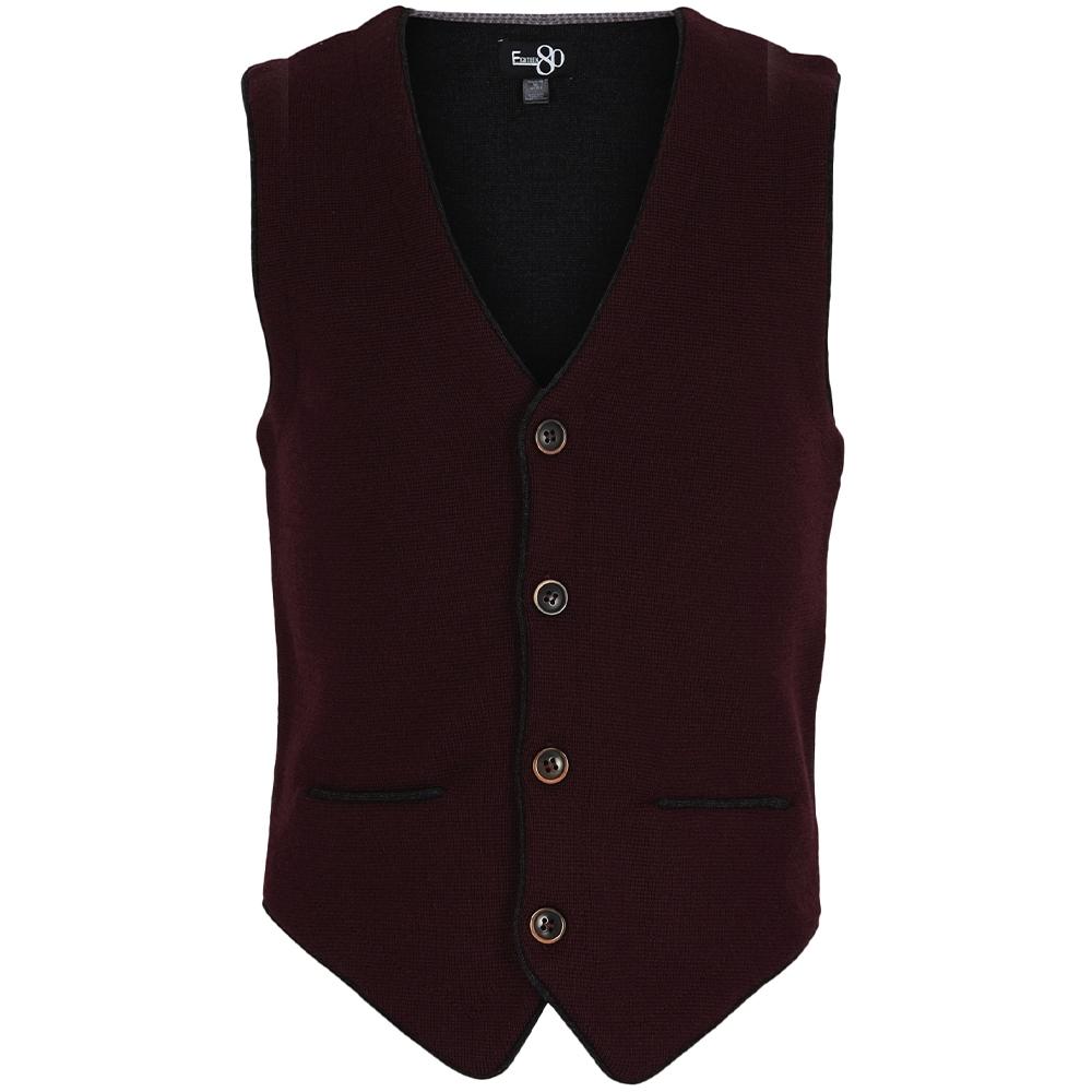 Knitted Waistcoat in Burgundy