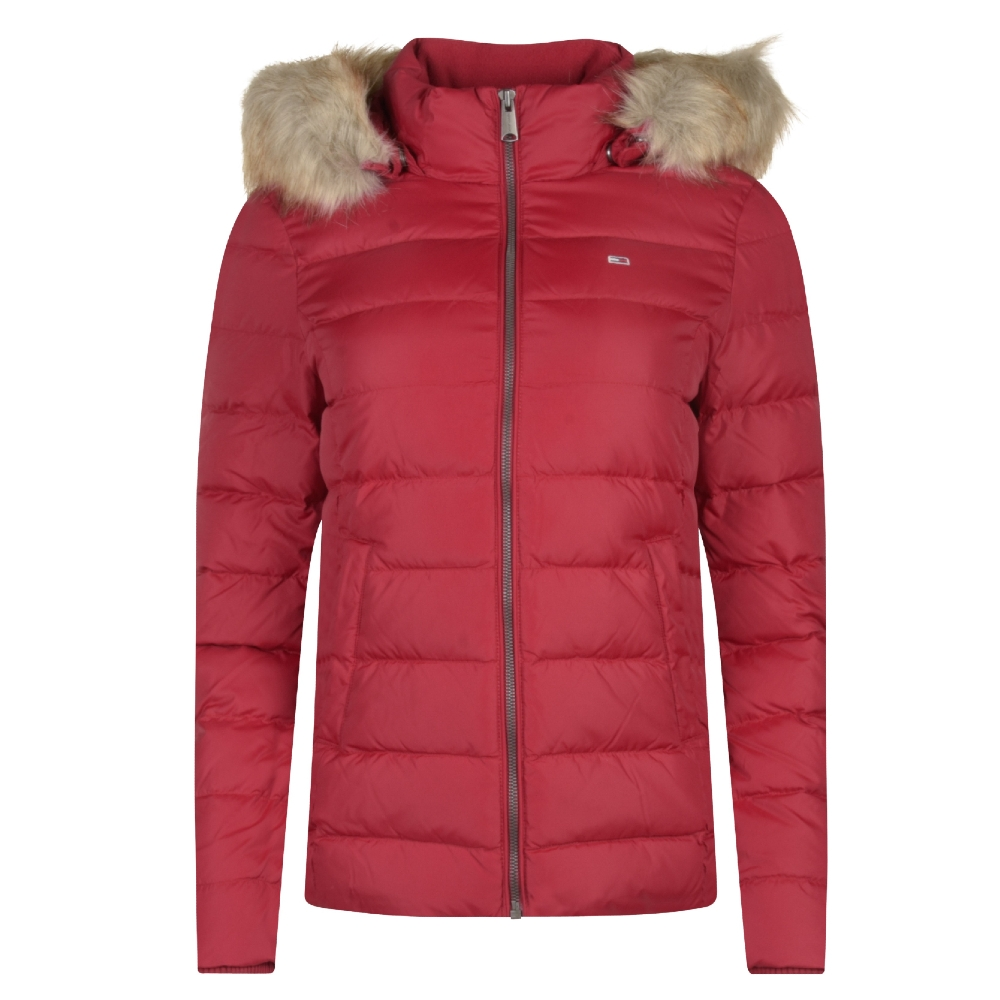 Womens Hooded Puffer Jacket in Red