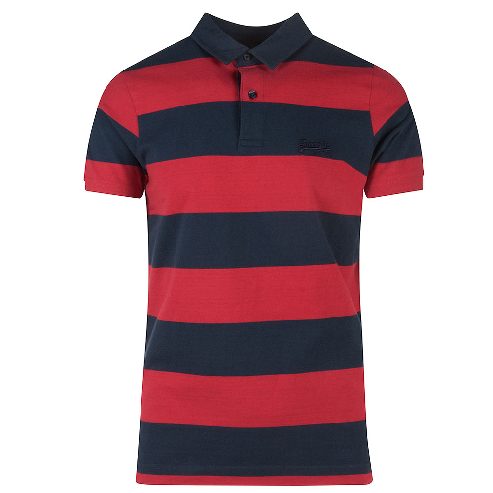 Academy Stripe Polo in Red