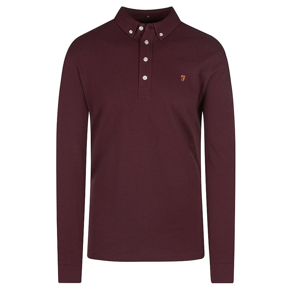 Ricky Long Sleeve Polo Shirt in Burgundy