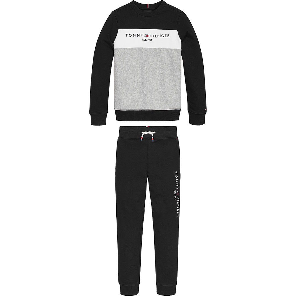 Kids Essential Colour Block Tracksuit in Grey