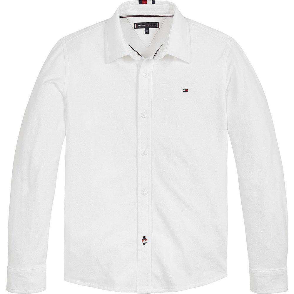 Stretch Pique Shirt in White