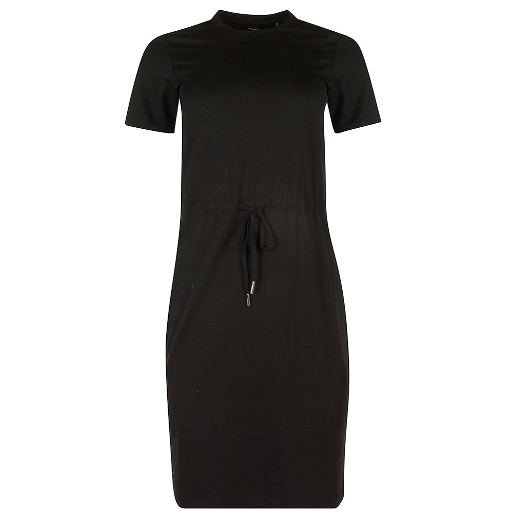 Drawstring T-Shirt Dress in Black