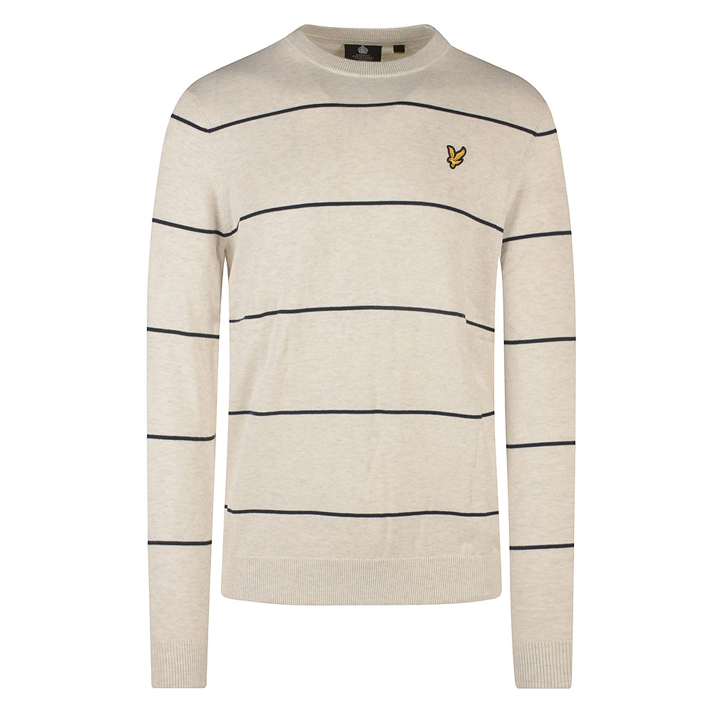 Wide Stripe Knitted Crew Neck in White