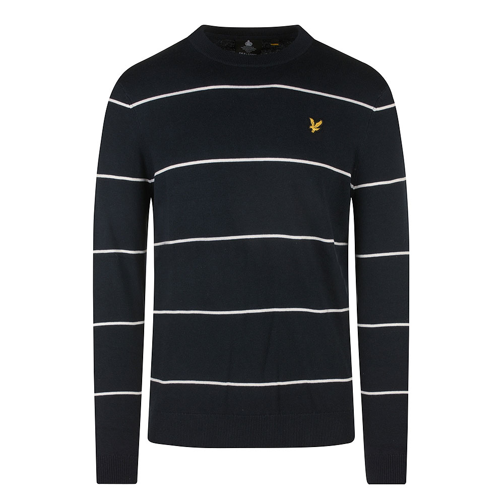Wide Stripe Knitted Crew Neck in Navy
