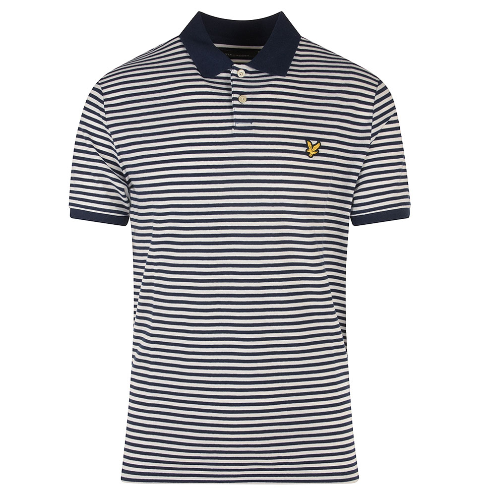 Two Colour Striped Polo Shirt in Navy