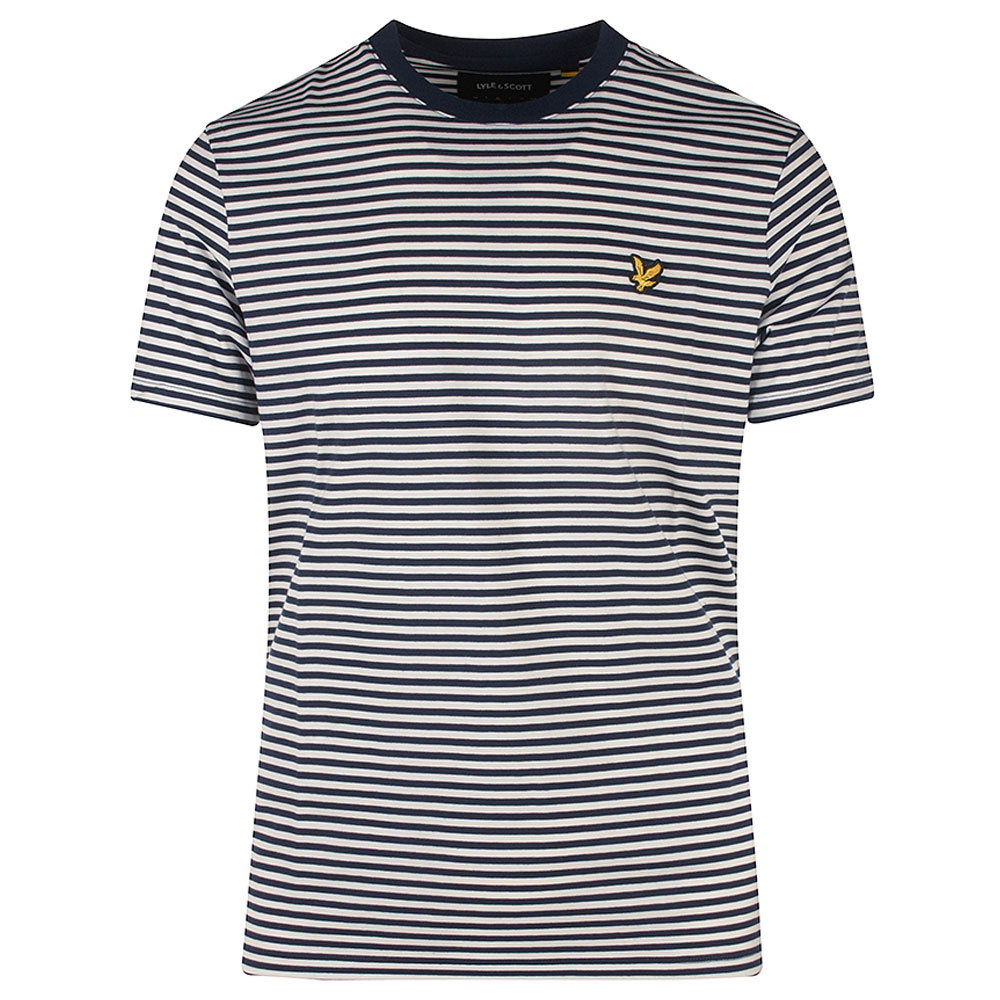 Two Colour Striped T-Shirt in Navy