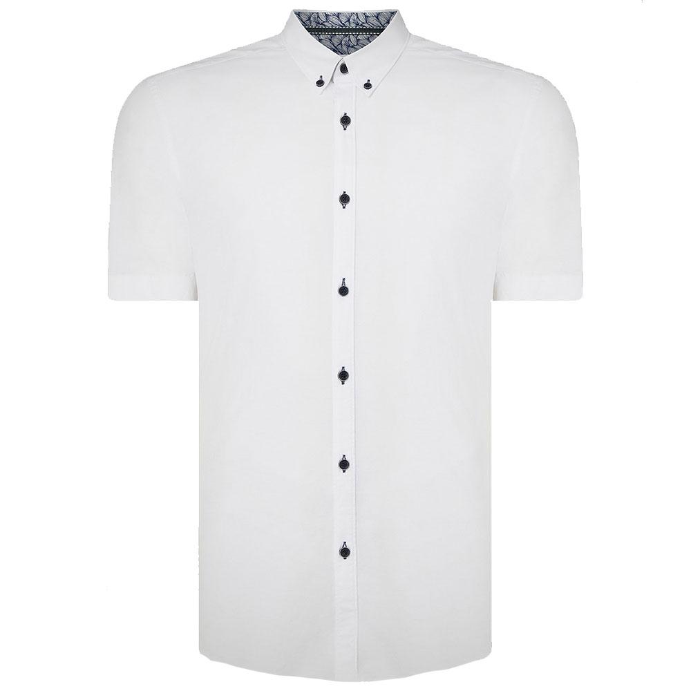 Dino Tapered Half Sleeve Shirt in White