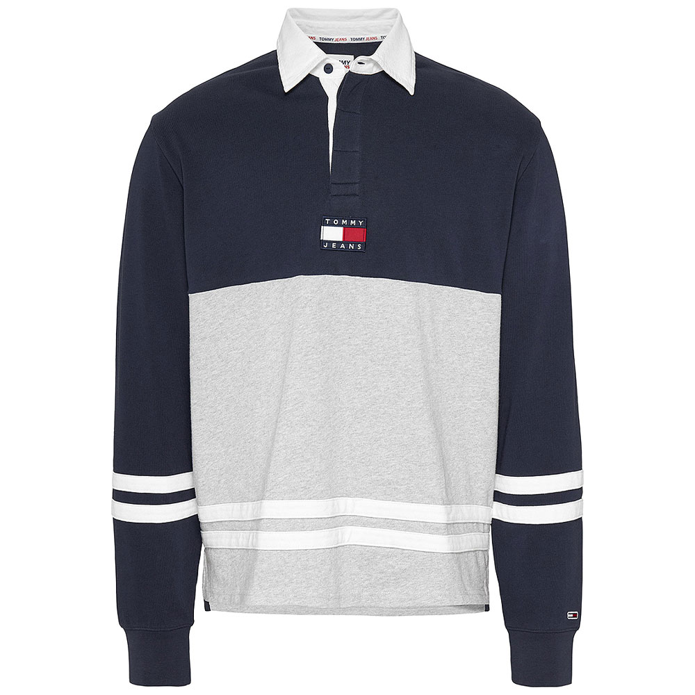 Colour Block Rugby Shirt in Navy
