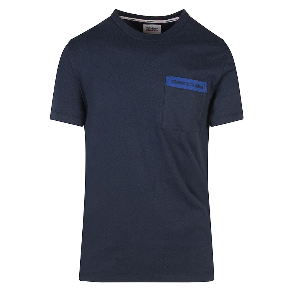 Branded Pocket T-Shirt in Navy