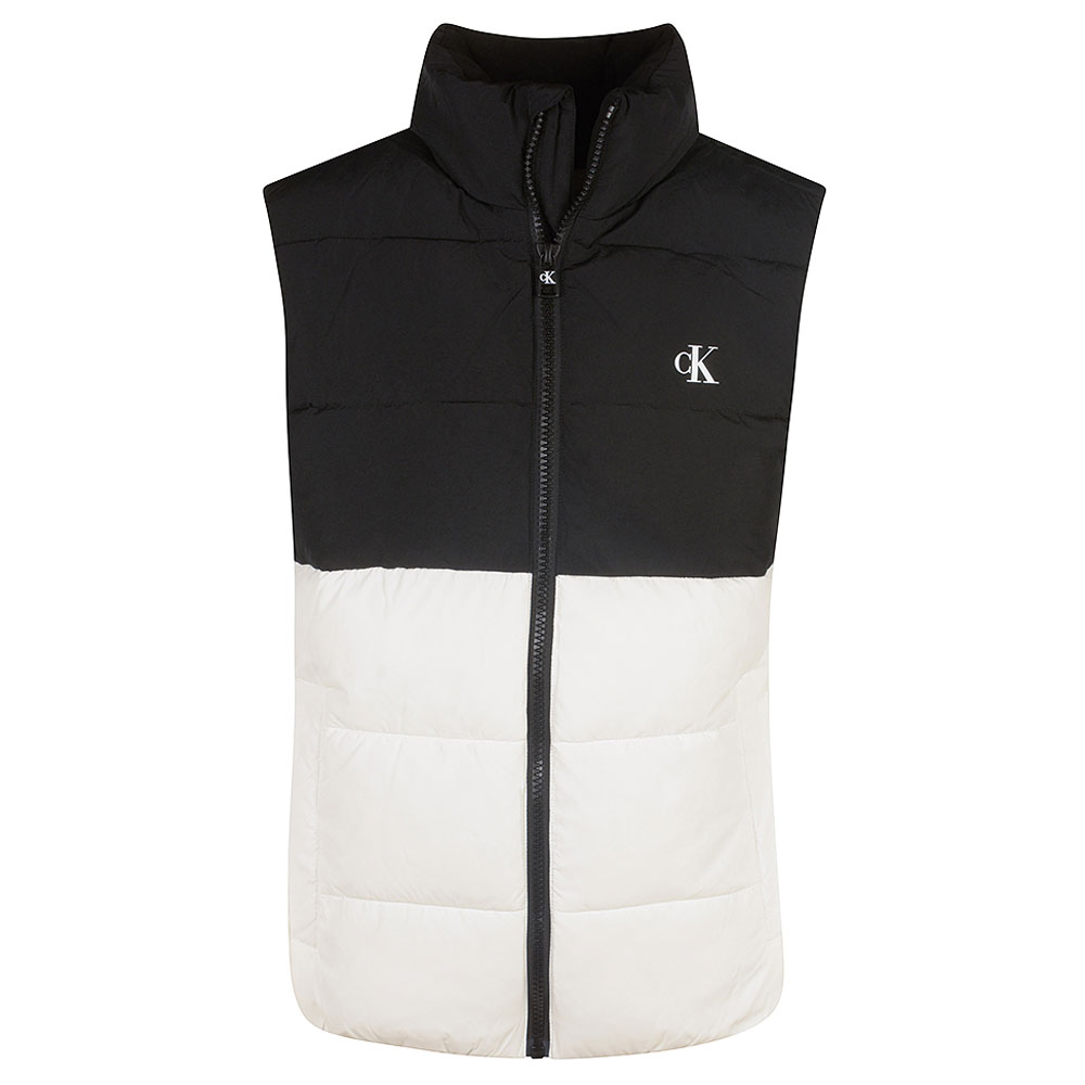 Stand Colour Block Gilet in White