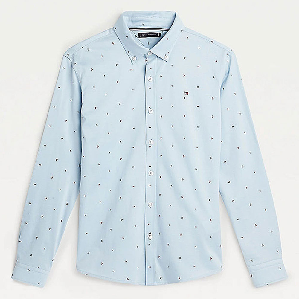 Seasonal Mini Print Shirt in Lt Blue