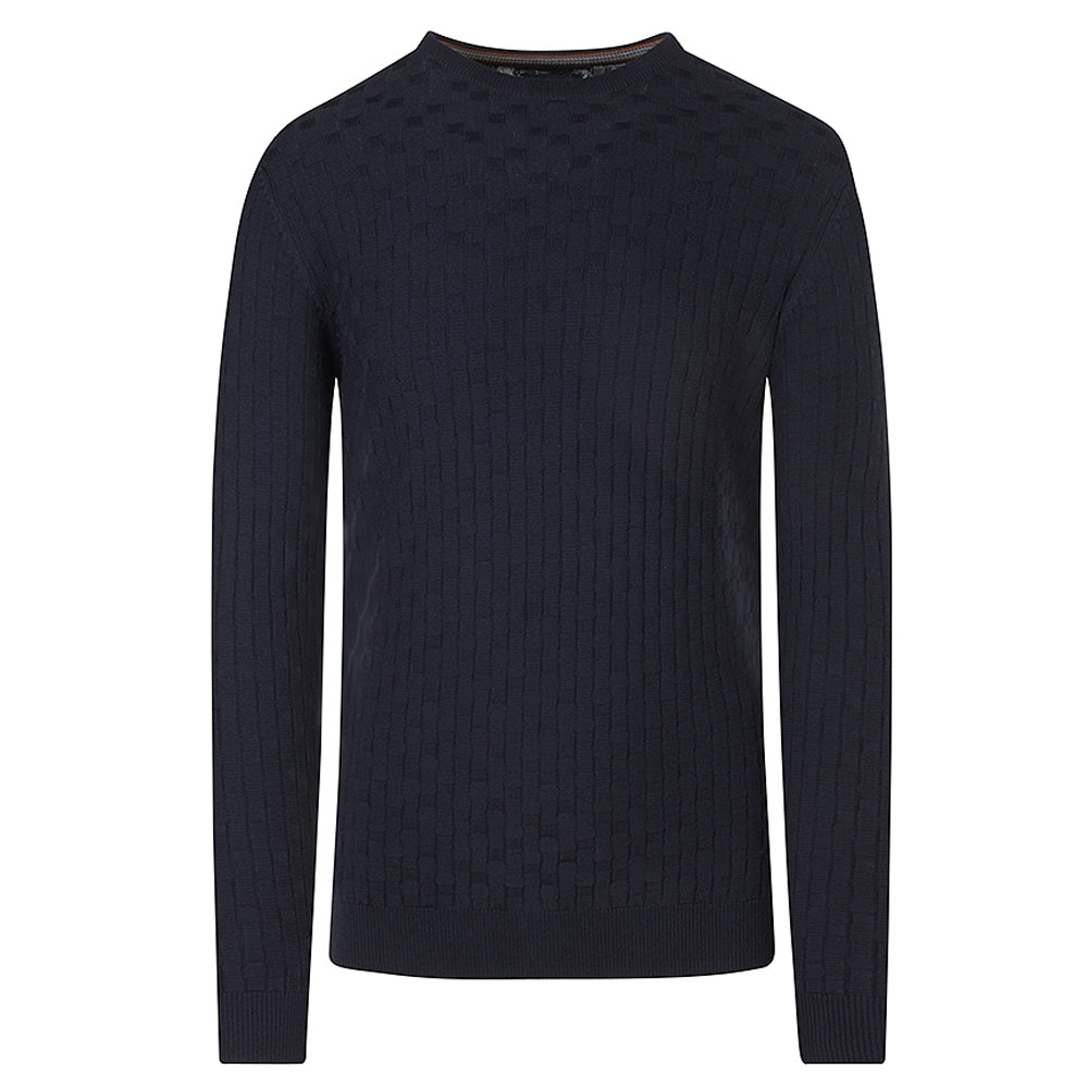 Crew Neck Knitted Jumper in Navy