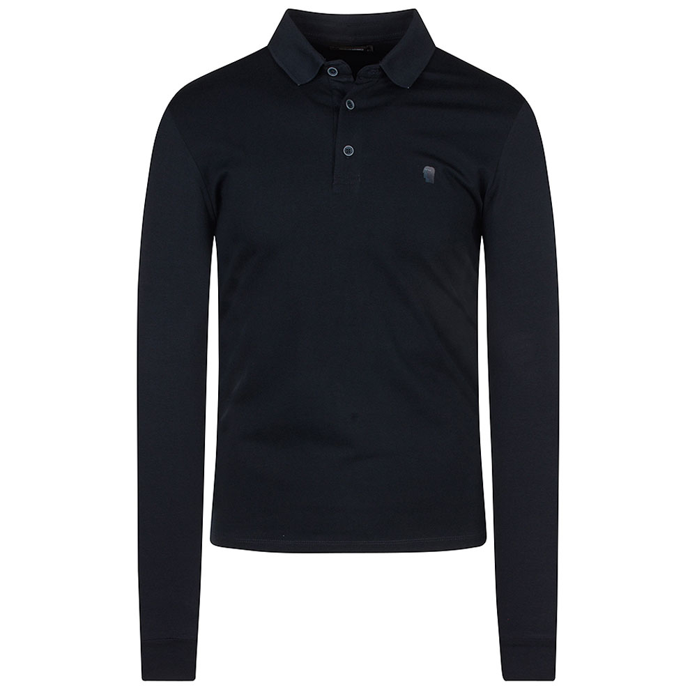 Long Sleeve Polo Shirt in Navy