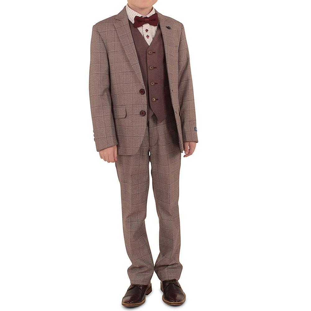 Boys Genaro Suit in Burgundy