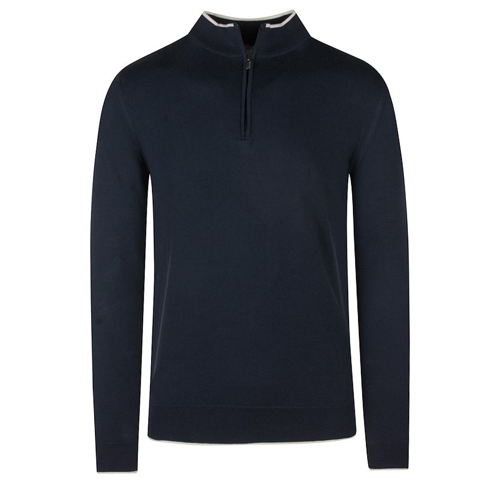 Long Sleeve Half Zip Sweater in Navy
