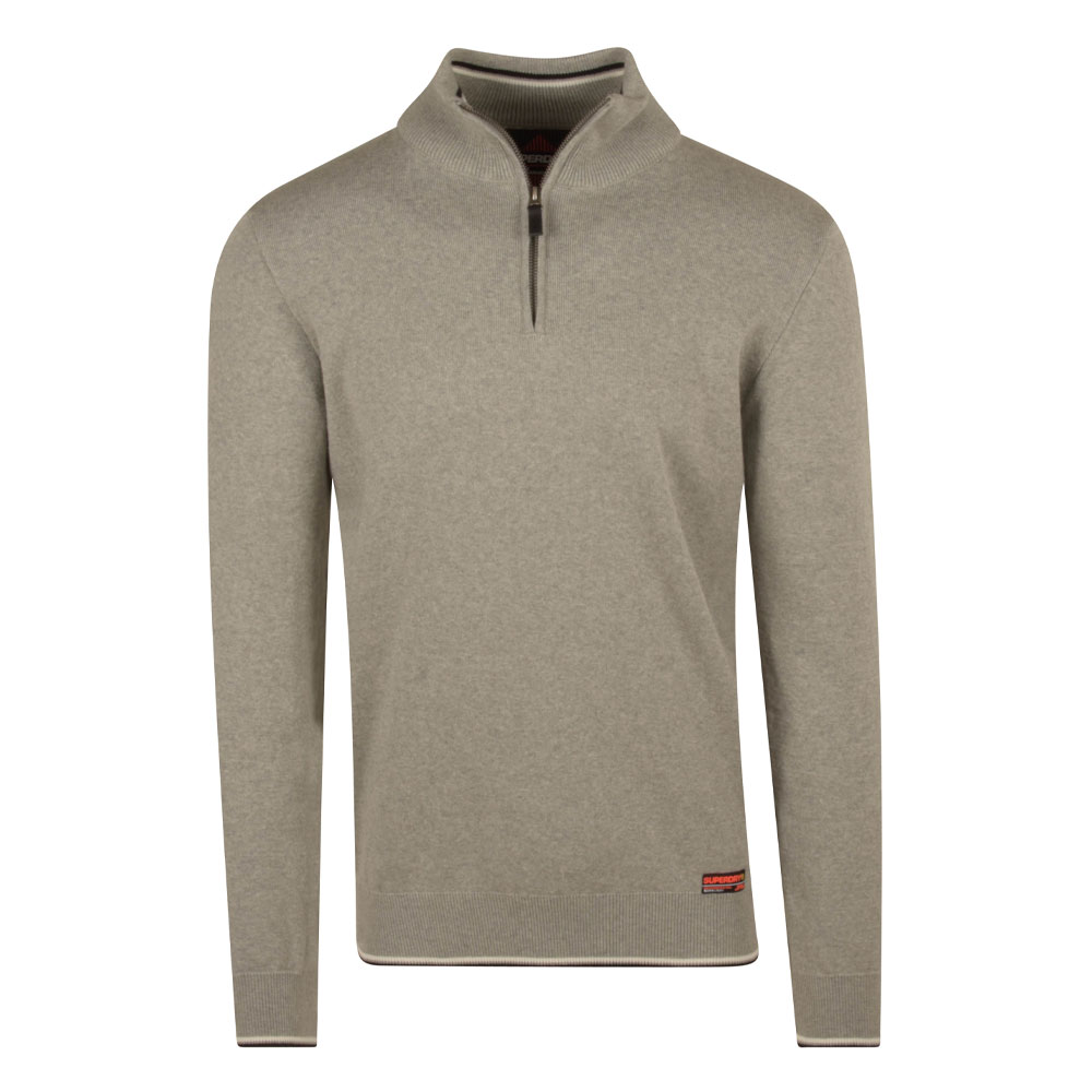 Henley Knitted Jumper in Grey