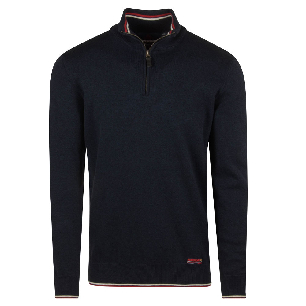 Henley Knitted Jumper in Navy