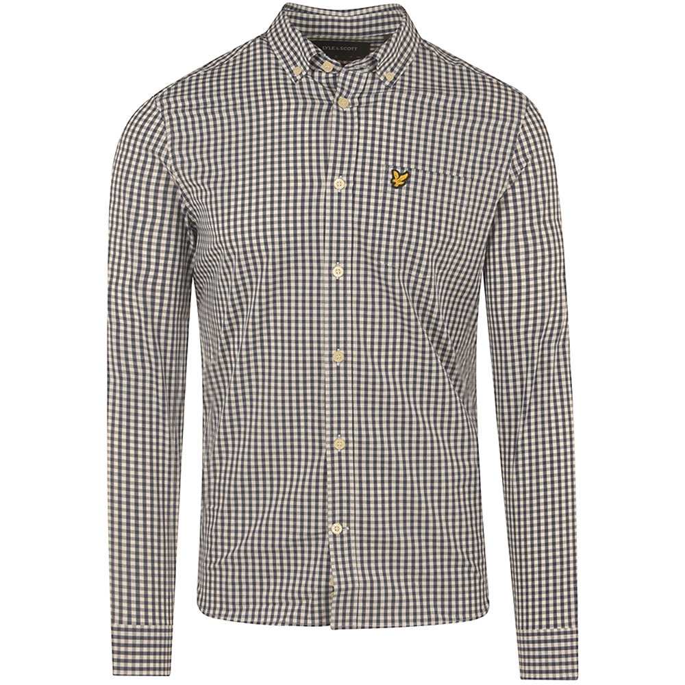 Slim Fit Gingham Shirt in Navy