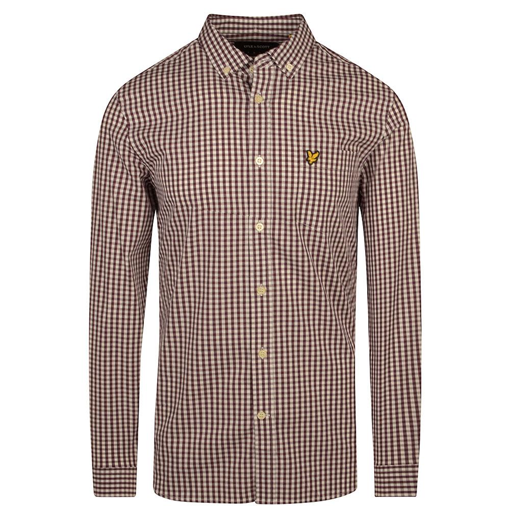 Slim Fit Gingham Shirt in Burgundy