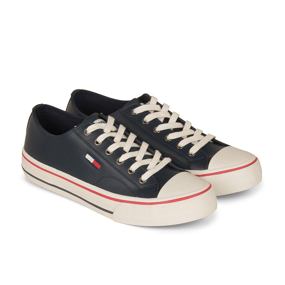 Leather Sneaker in Navy