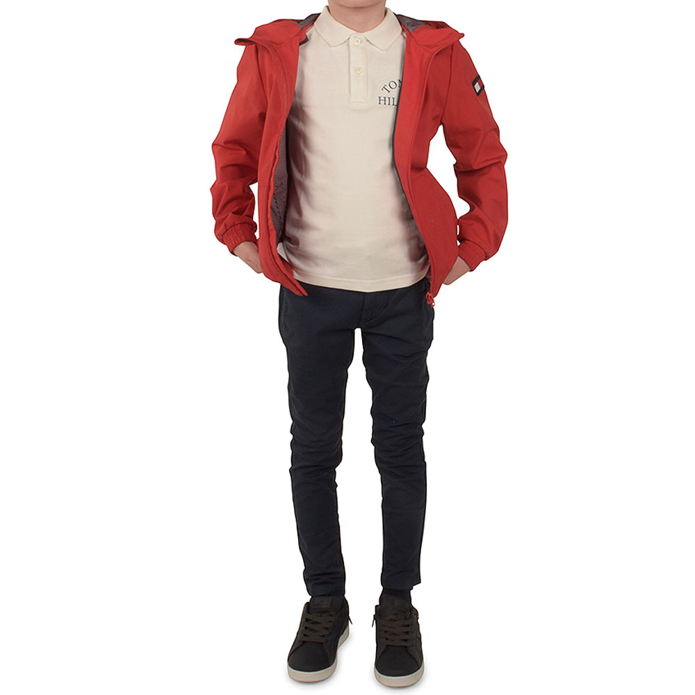 Hooded Tape Jacket in Red