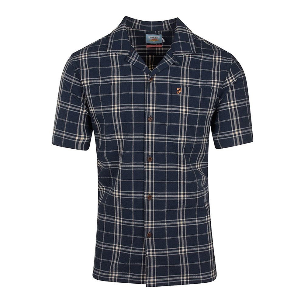 Emerson SS Check Shirt in Navy