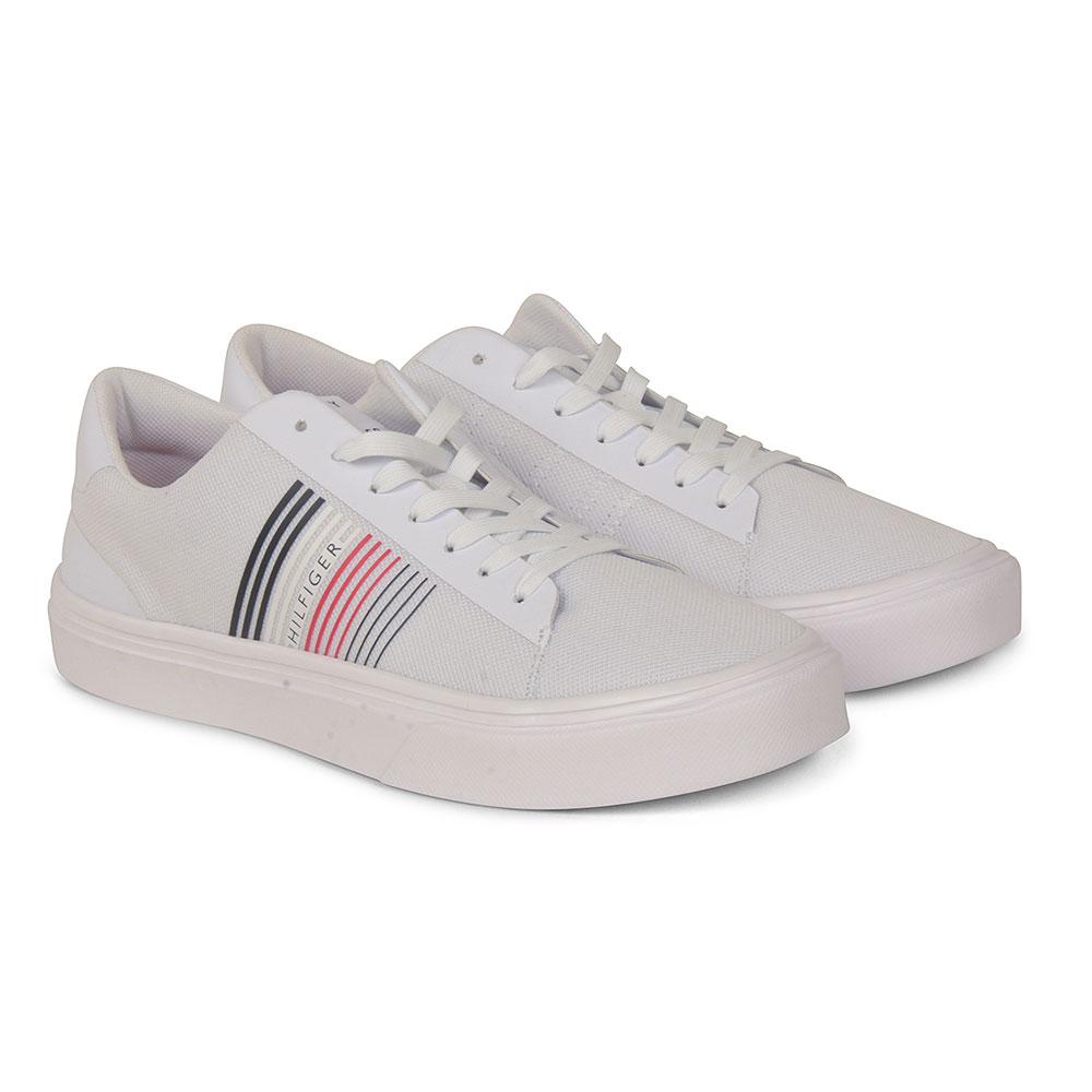 Lightweight Stripe Trainer in White