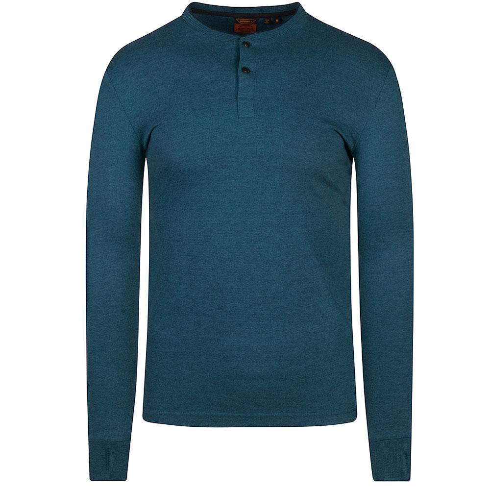 Henley Long Sleeve T-Shirt in Blue
