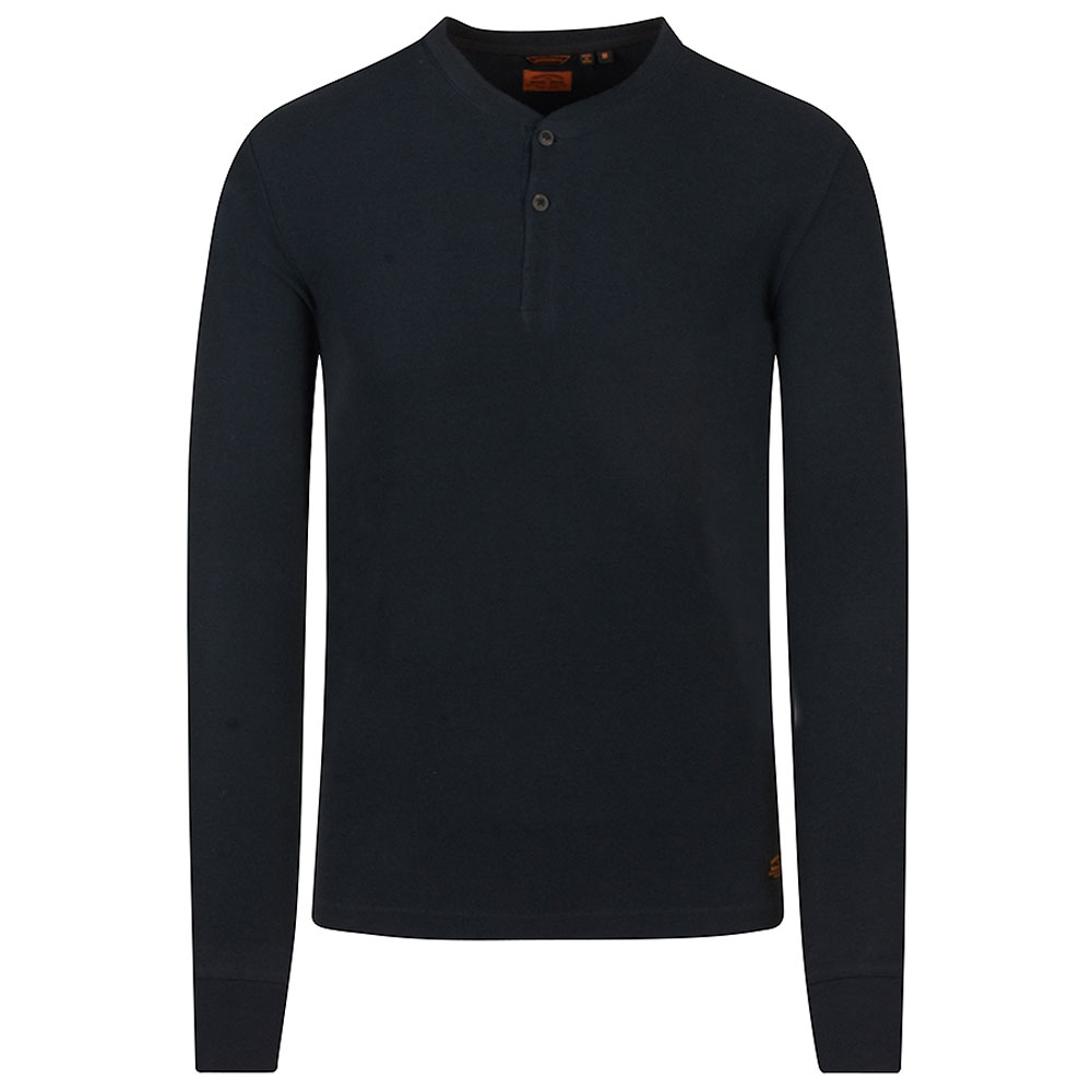 Grandfather Design Textured Top in Navy