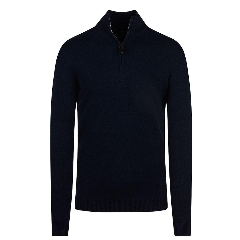 Henley High Neck Sweater in Navy