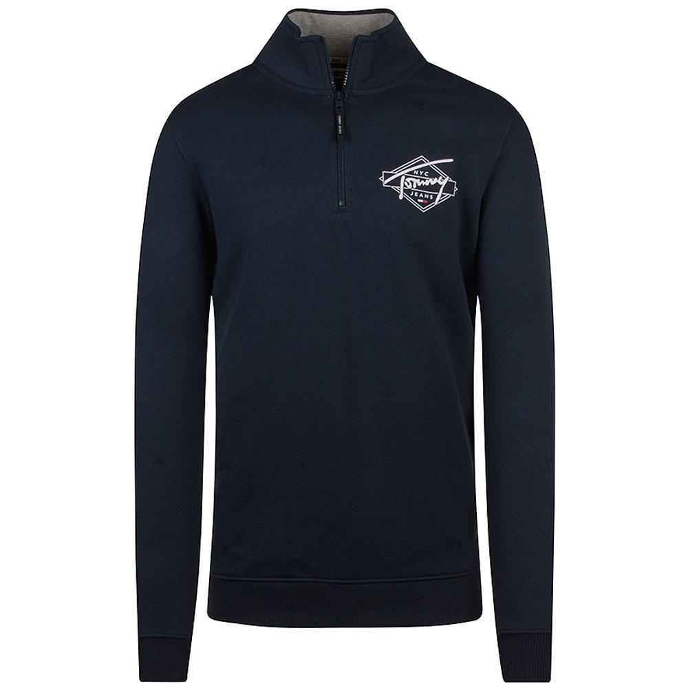 Tonal Mock Sweatshirt in Navy