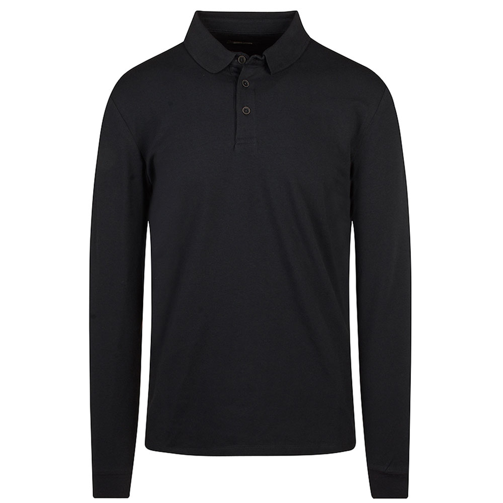 Long Sleeve Polo Shirt in Navy