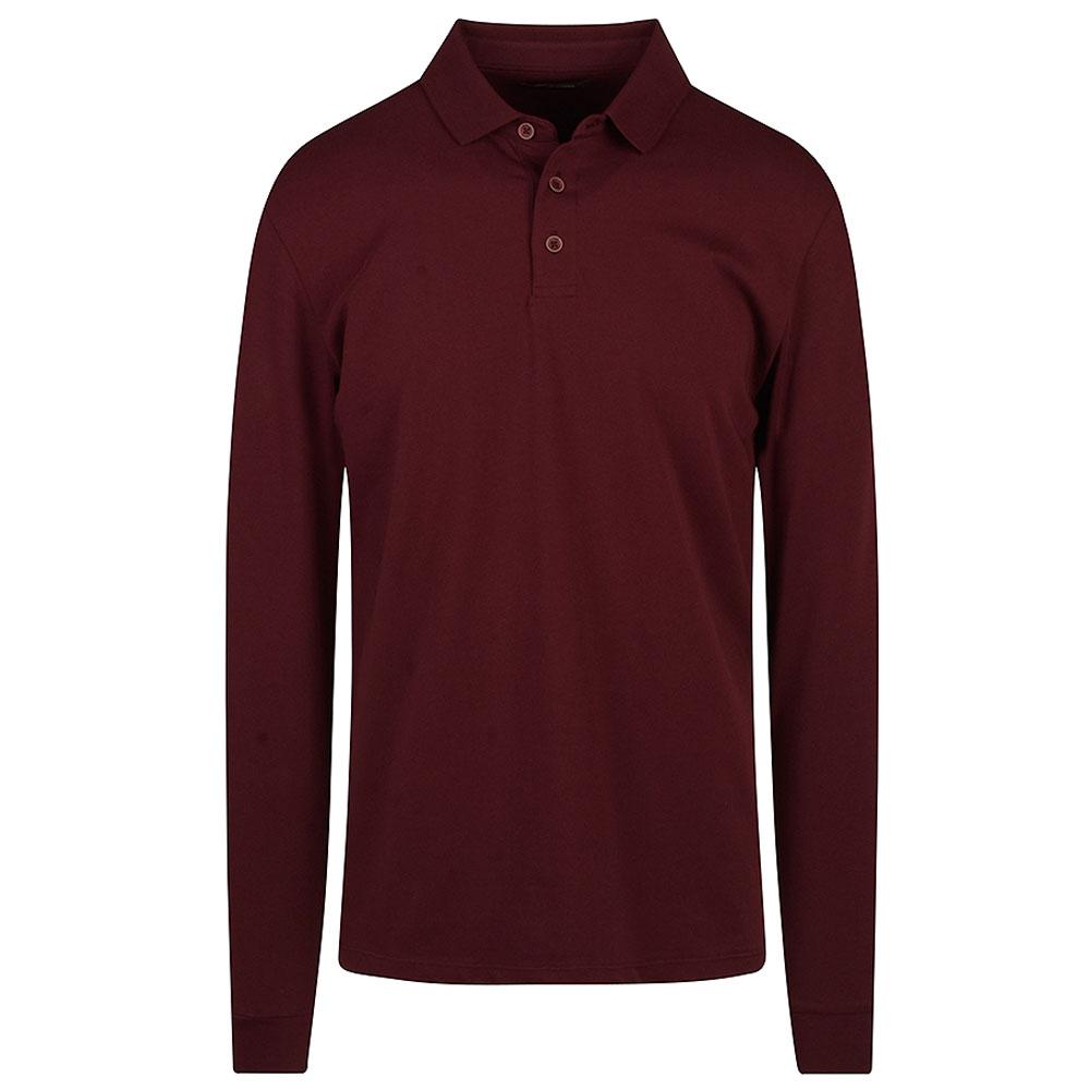 Long Sleeve Polo Shirt in Burgundy