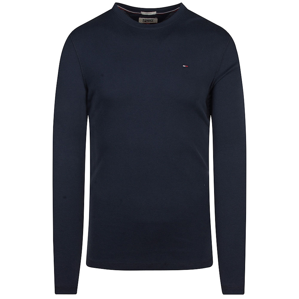 Ribbed Long Sleeve T-Shirt in Navy
