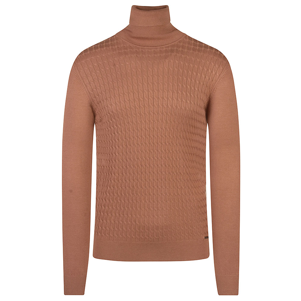 Fany Knit Polo Neck Sweater in Tan