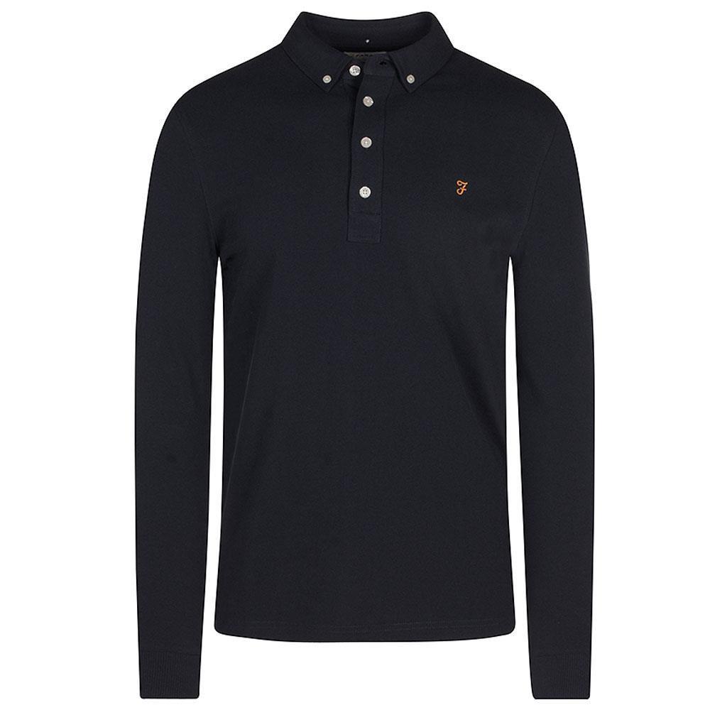 Ricky Long Sleeve Polo Shirt in Navy