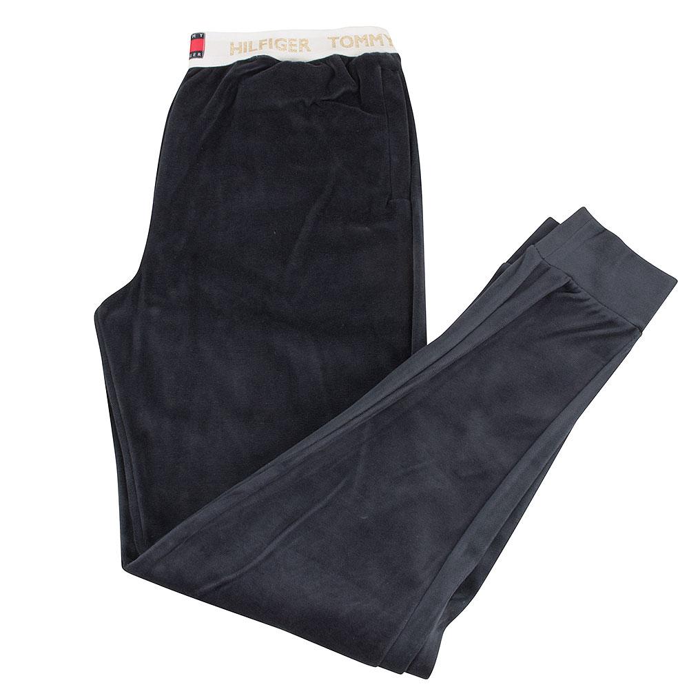 Velour Track Pants in Navy