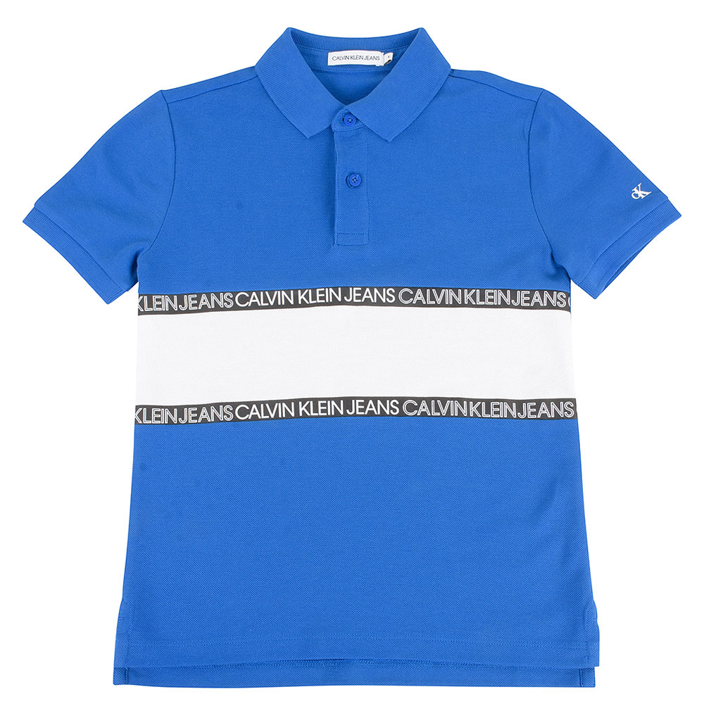 Kids Colour Block Polo in Blue