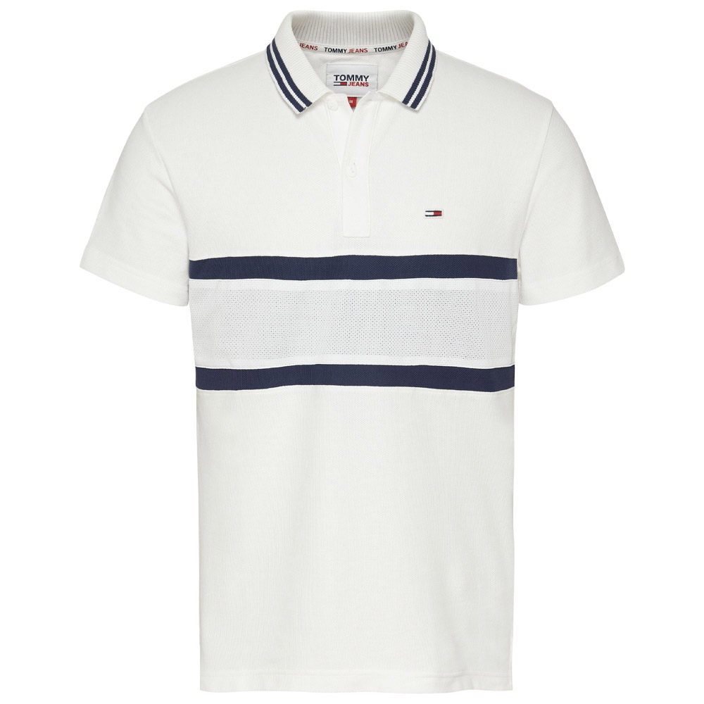 Mix Band Polo Shirt in White