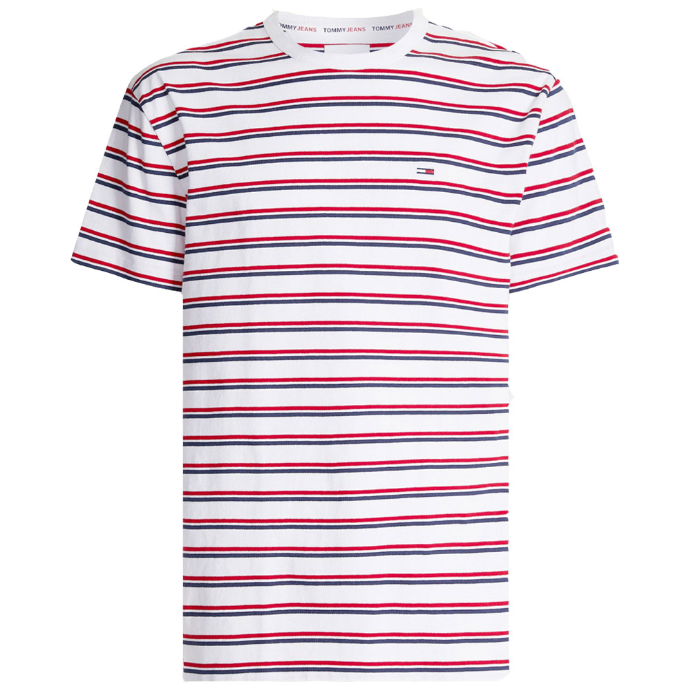 Two Tone Stripe Tee in Red