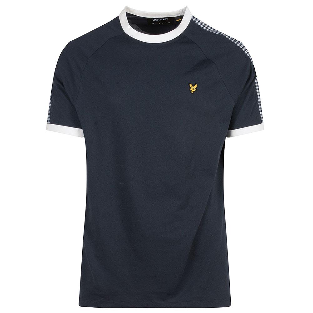 Gingham Stripe T-Shirt in Navy