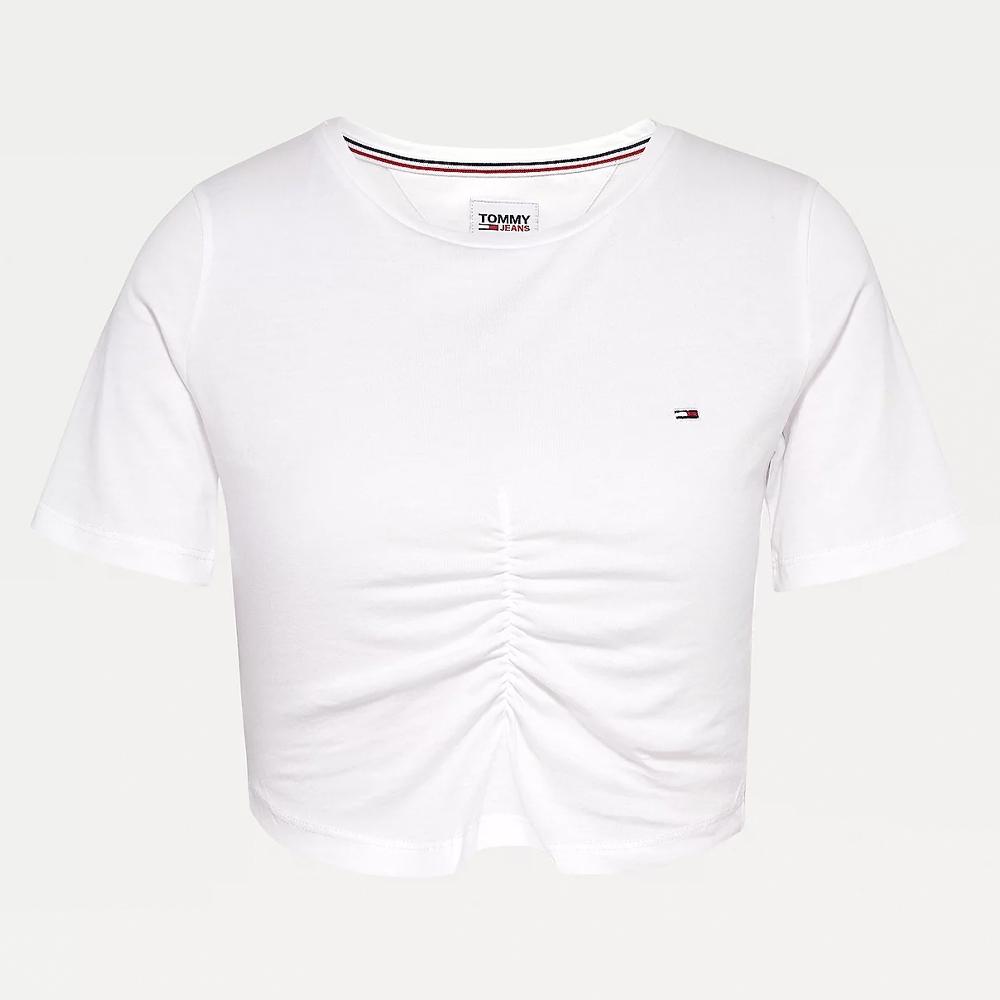 TJW Crop Ruche T-Shirt in White