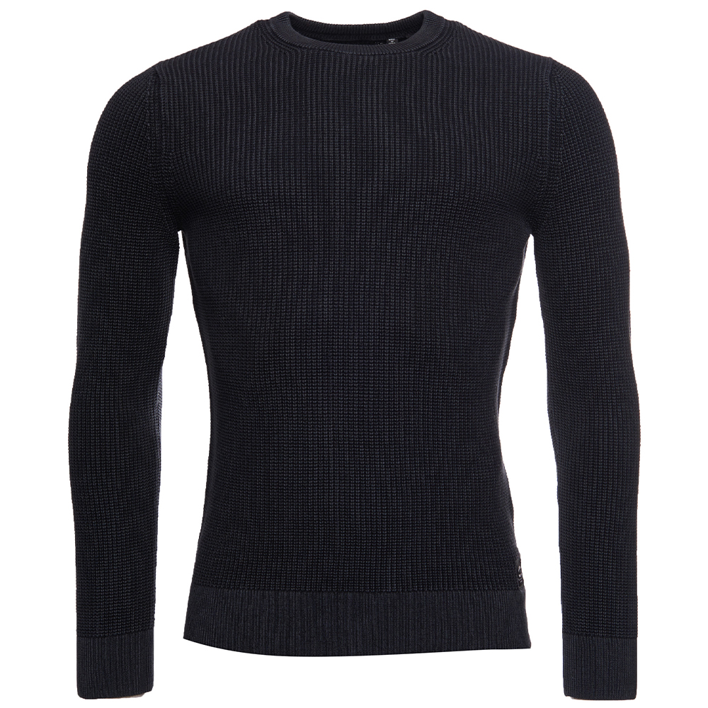 Academy Dyed Crew Sweater in Black