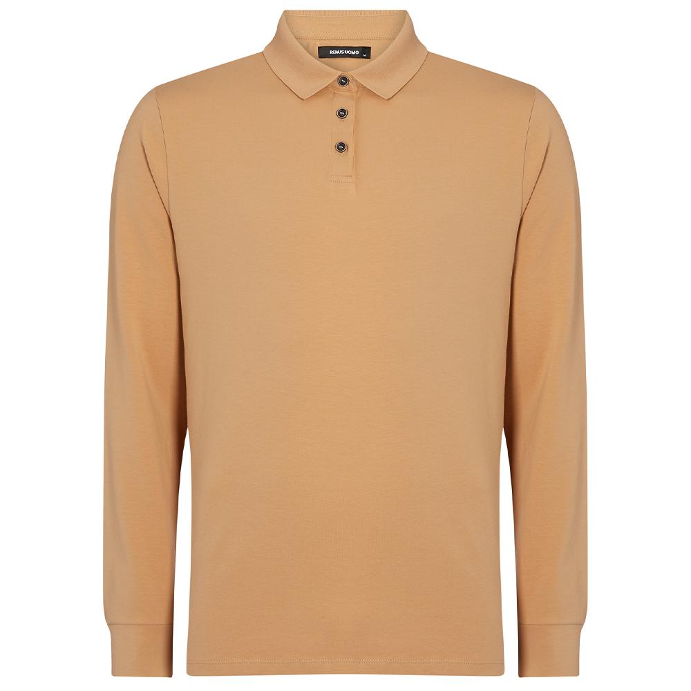 Long Sleeve Polo Shirt in Lt Tan
