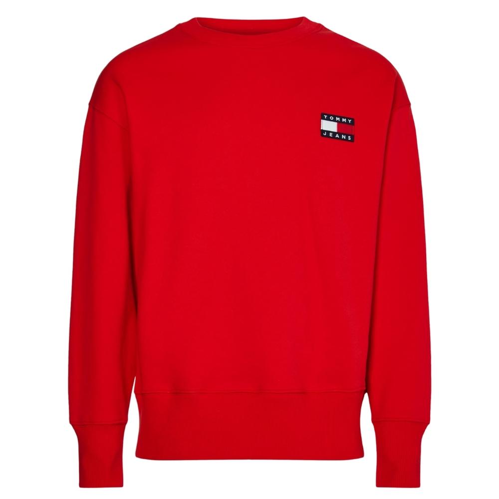 TJM Badge Crew Sweatshirt in Red